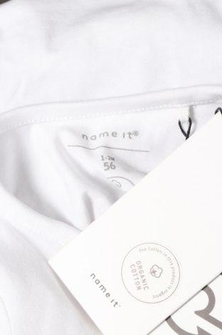 Детско боди Name It, Размер 2-3m/ 56-62 см, Цвят Бял, 95% памук, 5% еластан, Цена 21,42лв.