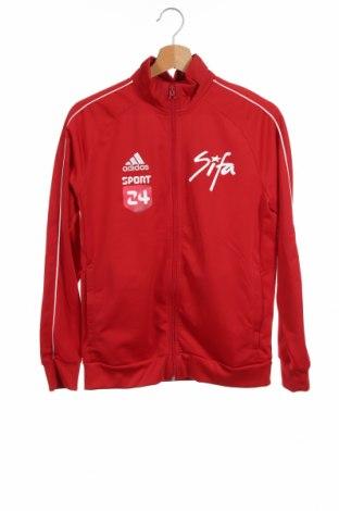 Детско спортно горнище Adidas, Размер 12-13y/ 158-164 см, Цвят Червен, Полиестер, Цена 17,01лв.