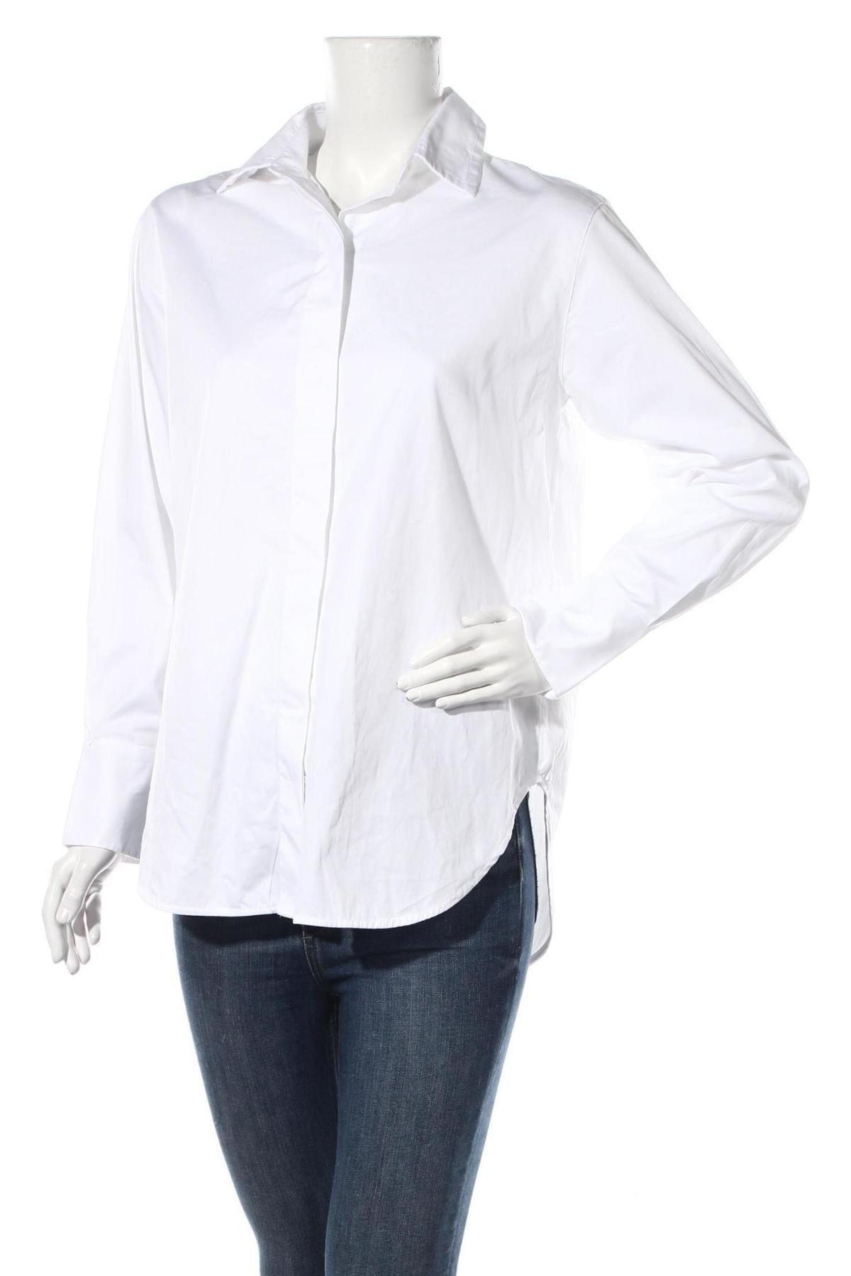 Дамска риза Massimo Dutti, Размер L, Цвят Бял, Памук, Цена 41,40лв.