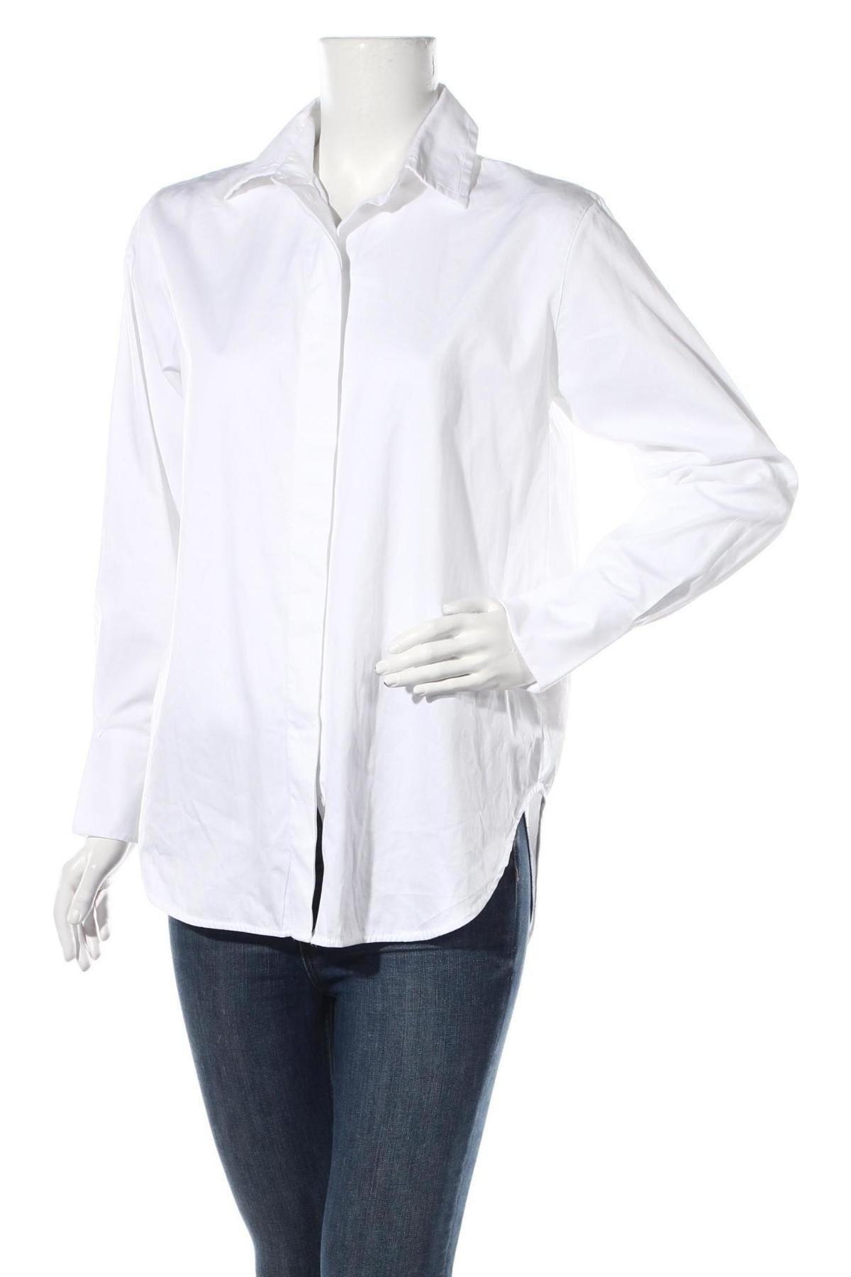 Дамска риза Massimo Dutti, Размер M, Цвят Бял, Памук, Цена 41,40лв.