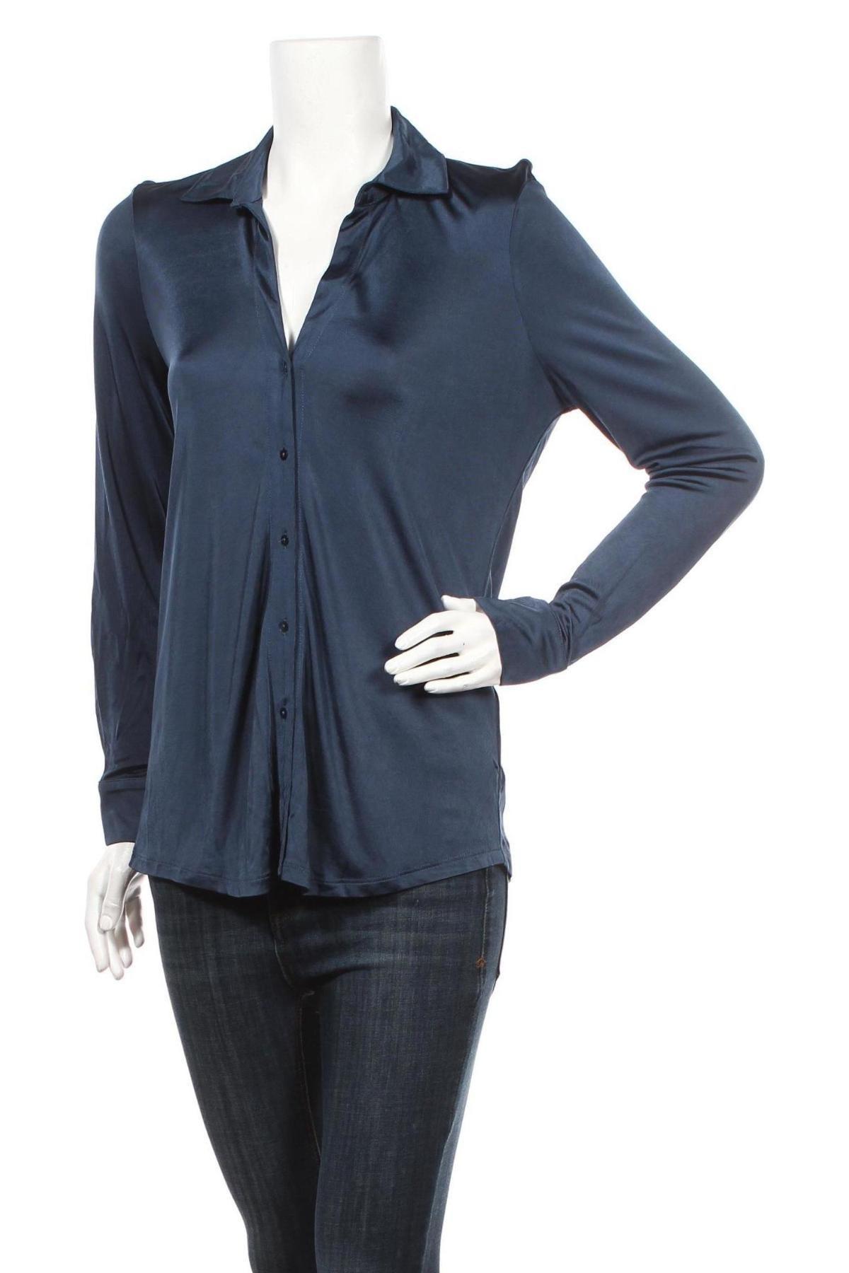 Дамска риза Massimo Dutti, Размер M, Цвят Син, Вискоза, Цена 41,40лв.