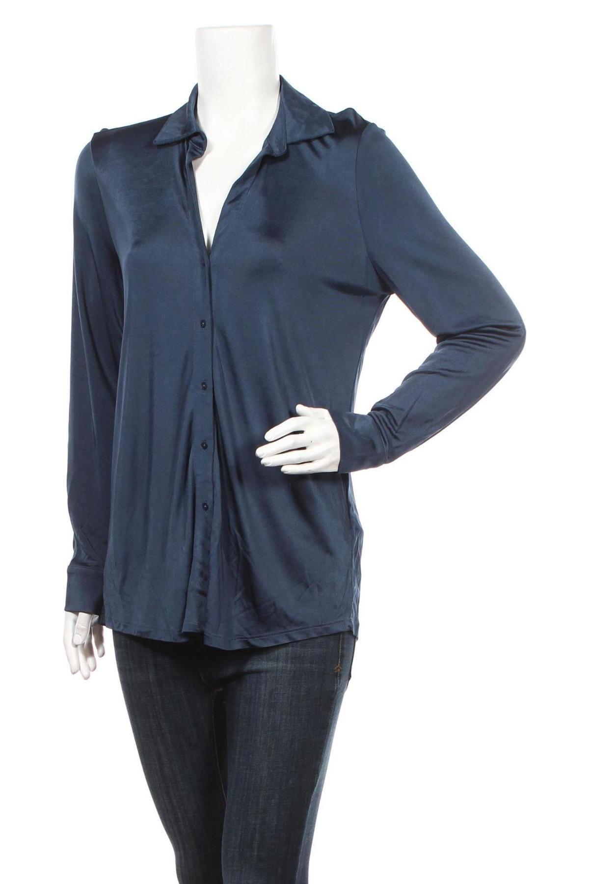 Дамска риза Massimo Dutti, Размер L, Цвят Син, Вискоза, Цена 41,40лв.