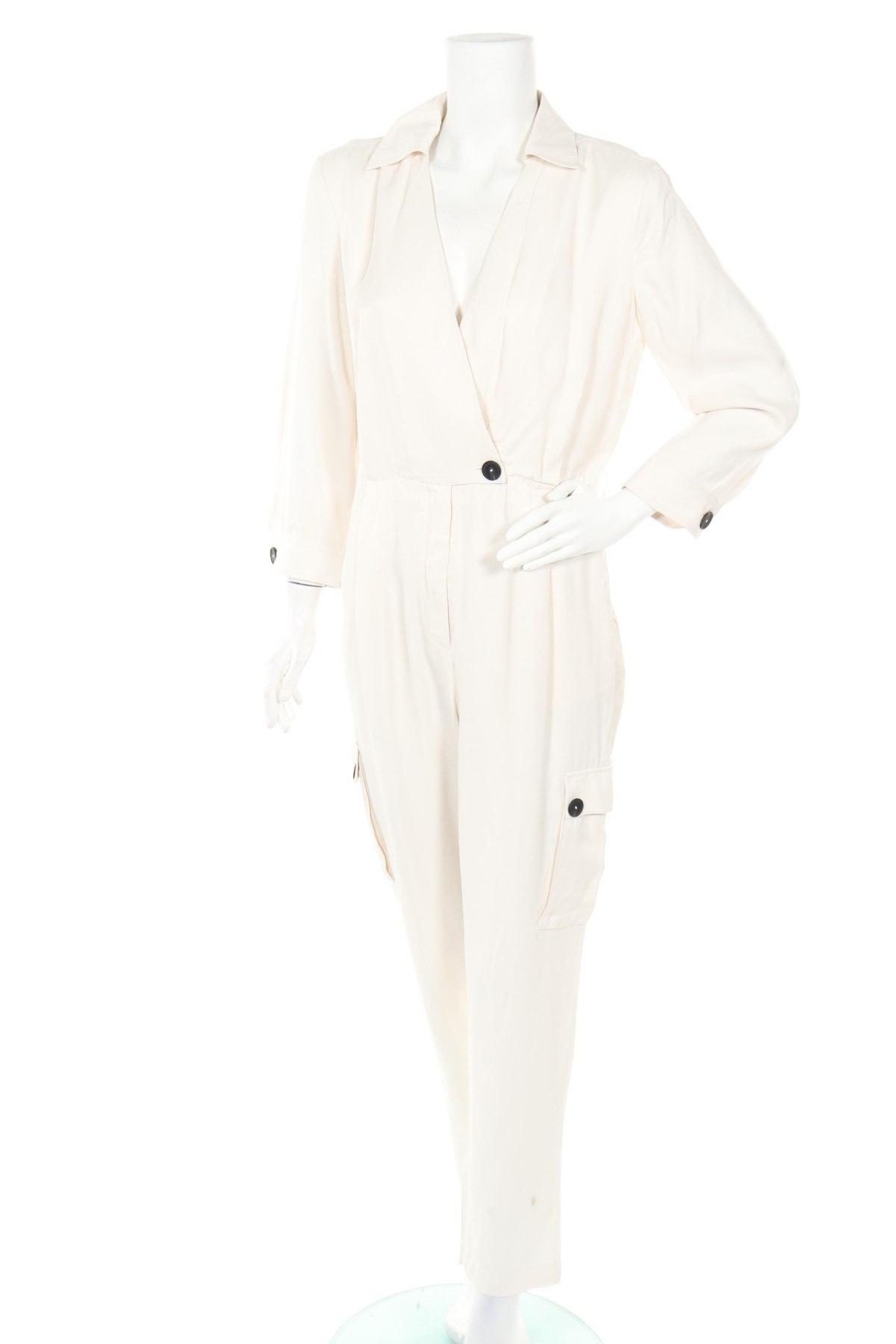 Дамски гащеризон Massimo Dutti, Размер M, Цвят Екрю, Вискоза, Цена 31,80лв.