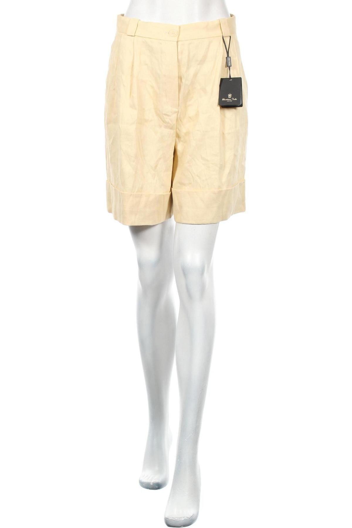 Γυναικείο κοντό παντελόνι Massimo Dutti, Μέγεθος S, Χρώμα  Μπέζ, 63% λινό, 35% βισκόζη, 2% ελαστάνη, Τιμή 22,40€