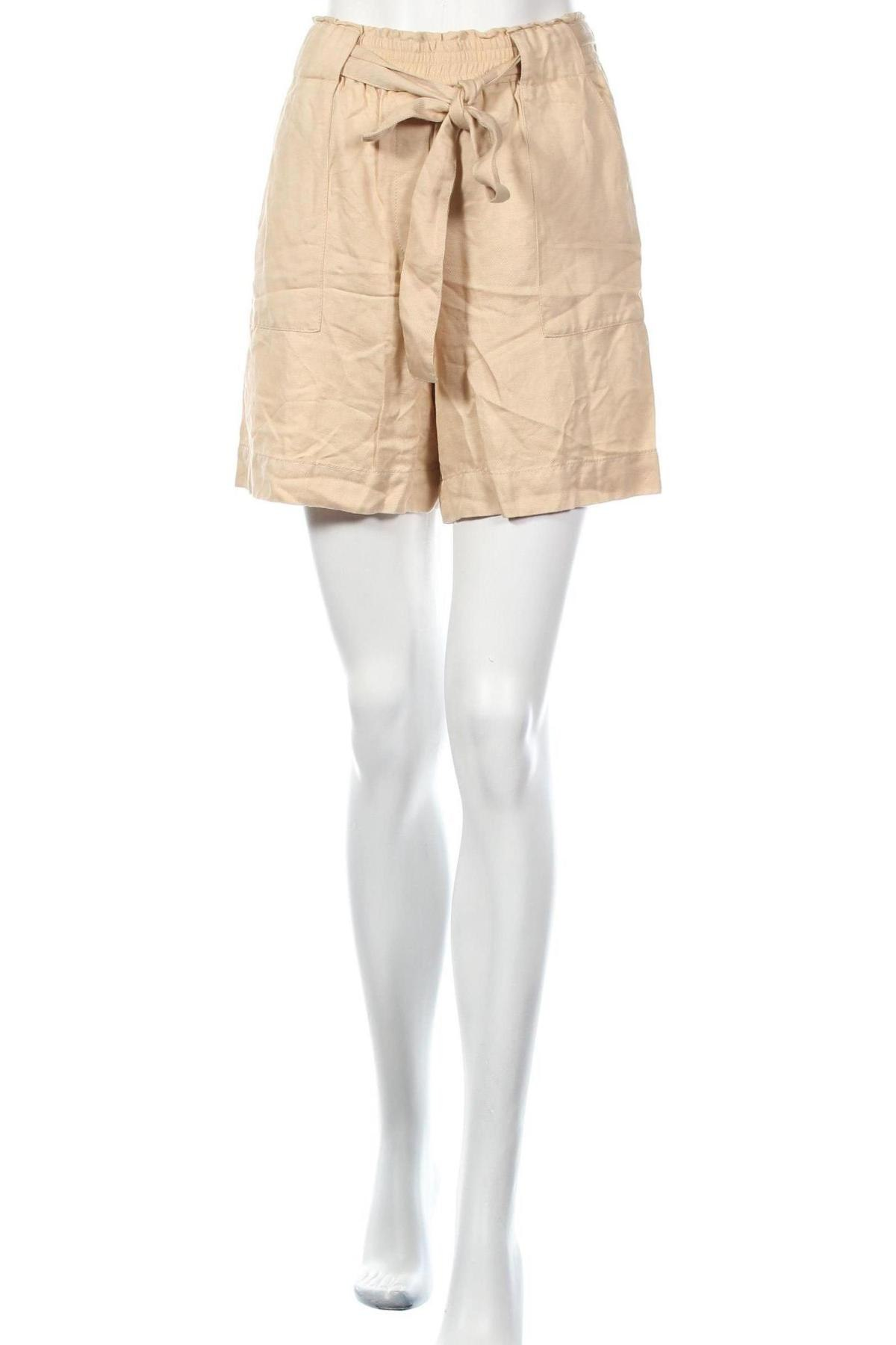 Γυναικείο κοντό παντελόνι Massimo Dutti, Μέγεθος XS, Χρώμα  Μπέζ, 73% lyocell, 27% λινό, Τιμή 20,36€