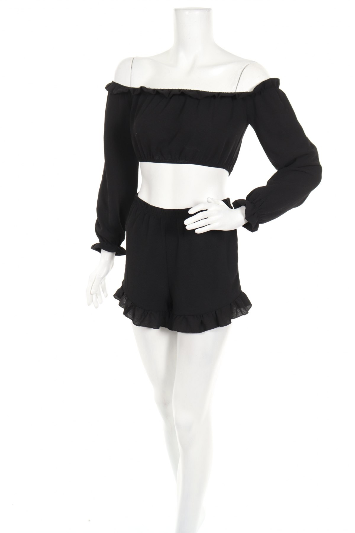 Дамски комплект Boohoo, Размер XS, Цвят Черен, 95% полиестер, 5% еластан, Цена 24,36лв.