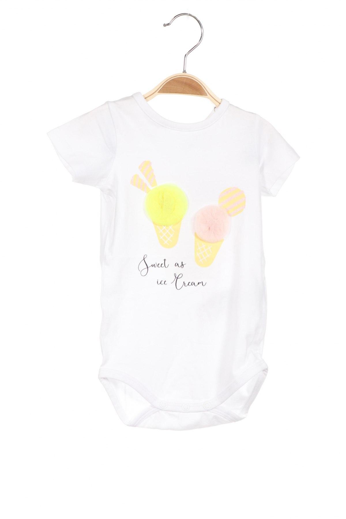 Детско боди Name It, Размер 9-12m/ 74-80 см, Цвят Бял, 95% памук, 5% еластан, Цена 21,42лв.
