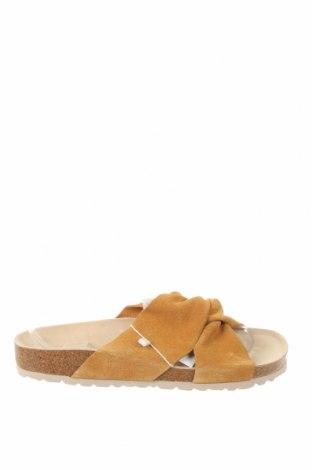 Pantofle Oysho, Velikost 38, Barva Žlutá, Přírodní velur , Cena  653,00Kč