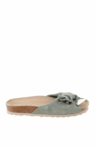 Pantofle Oysho, Velikost 39, Barva Zelená, Přírodní velur , Cena  774,00Kč