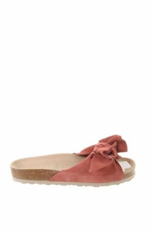 Papuci Oysho, Mărime 39, Culoare Roz, Velur natural, Preț 175,66 Lei
