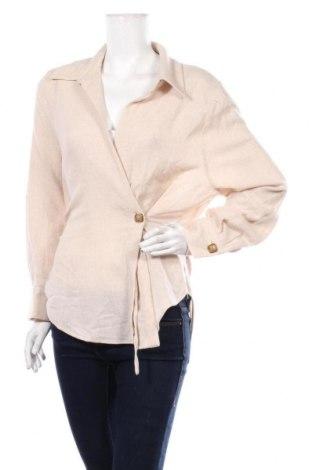 Дамско сако Zara, Размер L, Цвят Бежов, 65% вълна, 29% полиамид, 6% други материали, Цена 39,50лв.