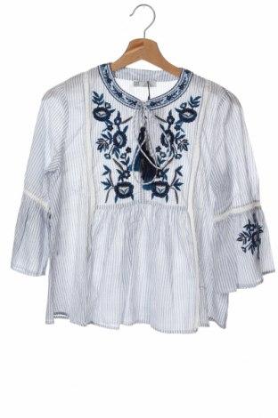 Дамска блуза Zara Trafaluc, Размер XS, Цвят Бял, Памук, Цена 34,50лв.