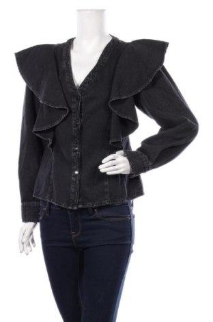 Дамска риза Zara, Размер S, Цвят Сив, Памук, Цена 51,75лв.