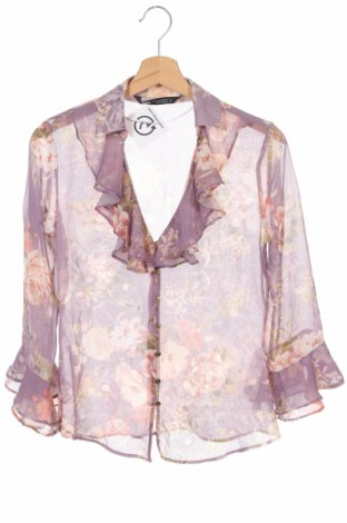 Дамска риза Zara, Размер XS, Цвят Лилав, Полиестер, Цена 28,60лв.