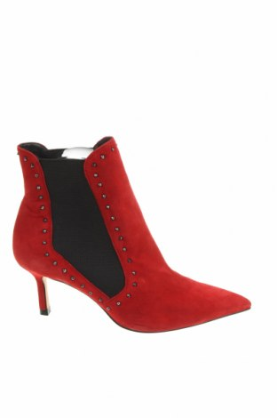 Γυναικεία μποτάκια Zara, Μέγεθος 37, Χρώμα Κόκκινο, Φυσικό σουέτ, Τιμή 49,87€