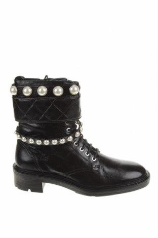 Дамски боти Zara, Размер 41, Цвят Черен, Естествена кожа, Цена 104,25лв.