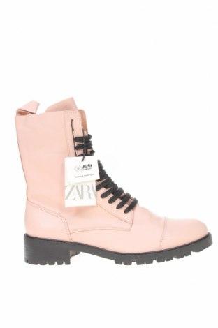 Dámské boty  Zara, Velikost 40, Barva Růžová, Pravá kůže, Cena  1428,00Kč