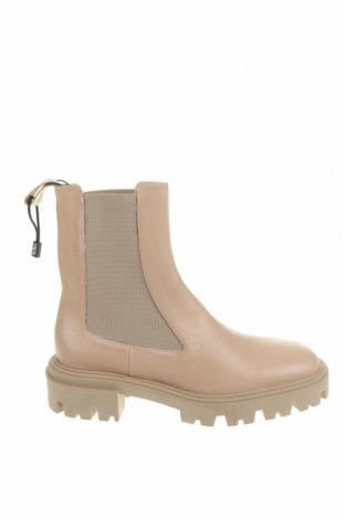 Дамски боти Zara, Размер 39, Цвят Бежов, Естествена кожа, Цена 119,25лв.