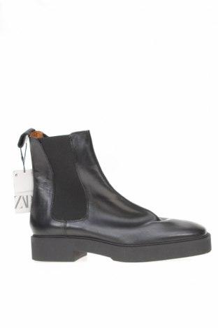 Botine de damă Zara, Mărime 40, Culoare Negru, Piele naturală, Preț 122,53 Lei