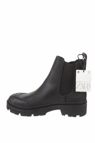 Botine de damă Zara, Mărime 37, Culoare Negru, Piele ecologică, textil, Preț 194,90 Lei