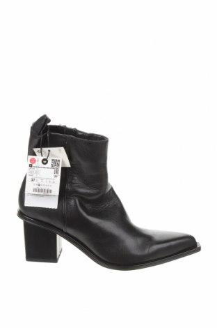 Γυναικεία μποτάκια Zara, Μέγεθος 37, Χρώμα Μαύρο, Γνήσιο δέρμα, Τιμή 25,08€
