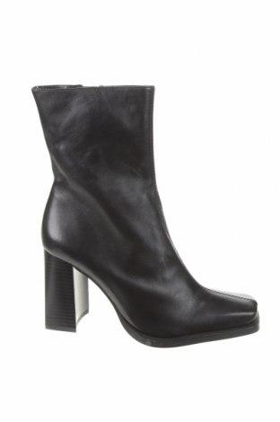 Botine de damă Zara, Mărime 37, Culoare Negru, Piele naturală, Preț 203,95 Lei