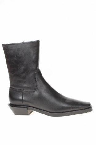 Γυναικεία μποτάκια Zara, Μέγεθος 38, Χρώμα Μαύρο, Γνήσιο δέρμα, Τιμή 87,11€