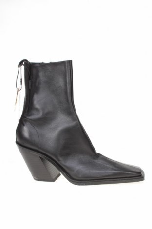 Γυναικεία μποτάκια Zara, Μέγεθος 38, Χρώμα Μαύρο, Γνήσιο δέρμα, Τιμή 81,96€