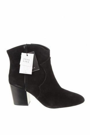 Дамски боти Zara, Размер 40, Цвят Черен, Естествен велур, Цена 49,17лв.