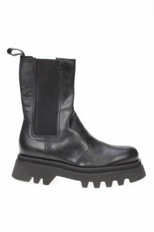 Дамски боти Zara, Размер 39, Цвят Черен, Естествена кожа, Цена 118,30лв.