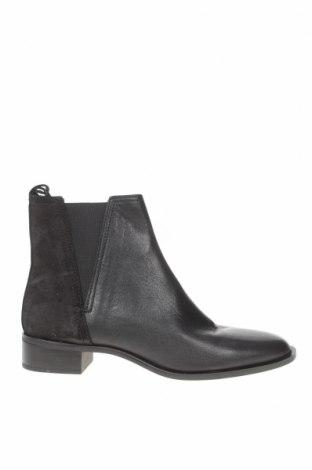Дамски боти Zara, Размер 38, Цвят Черен, Естествен велур, естествена кожа, текстил, Цена 104,25лв.