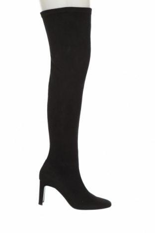 Γυναικείες μπότες Bershka, Μέγεθος 40, Χρώμα Μαύρο, Κλωστοϋφαντουργικά προϊόντα, Τιμή 23,12€