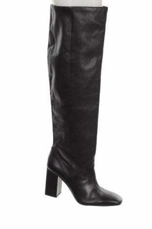 Γυναικείες μπότες Stradivarius, Μέγεθος 40, Χρώμα Μαύρο, Γνήσιο δέρμα, Τιμή 53,74€