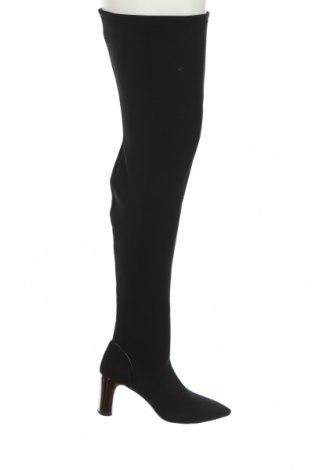 Дамски ботуши Zara, Размер 38, Цвят Черен, Текстил, Цена 81,75лв.
