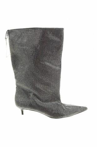 Γυναικείες μπότες Zara, Μέγεθος 38, Χρώμα Ασημί, Κλωστοϋφαντουργικά προϊόντα, Τιμή 40,21€