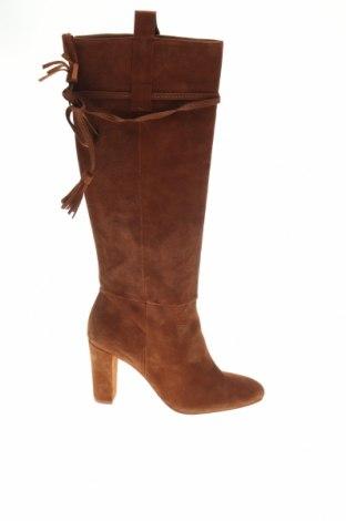 Дамски ботуши Zara, Размер 39, Цвят Кафяв, Естествен велур, Цена 149,25лв.