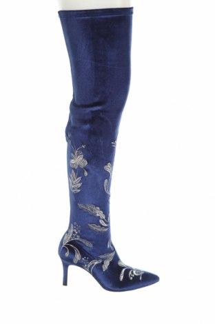 Дамски ботуши Zara, Размер 37, Цвят Син, Текстил, Цена 74,25лв.