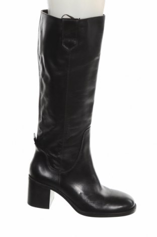 Дамски ботуши Zara, Размер 39, Цвят Черен, Естествена кожа, Цена 141,75лв.