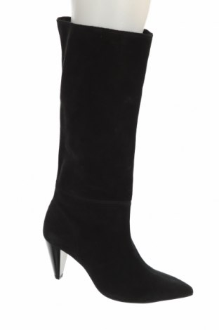 Дамски ботуши Zara, Размер 40, Цвят Черен, Естествен велур, Цена 141,75лв.