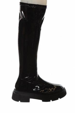 Дамски ботуши Zara, Размер 38, Цвят Черен, Еко кожа, Цена 89,25лв.