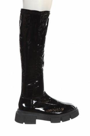 Дамски ботуши Zara, Размер 37, Цвят Черен, Еко кожа, Цена 89,25лв.