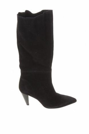 Дамски ботуши Zara, Размер 36, Цвят Черен, Естествен велур, Цена 141,75лв.
