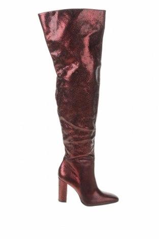 Дамски ботуши Zara, Размер 41, Цвят Червен, Естествена кожа, Цена 149,25лв.
