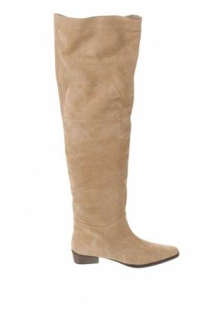 Дамски ботуши Zara, Размер 38, Цвят Бежов, Естествен велур, Цена 126,75лв.