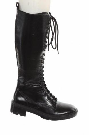 Дамски ботуши Zara, Размер 41, Цвят Черен, Еко кожа, Цена 104,25лв.