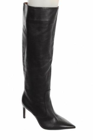 Дамски ботуши Zara, Размер 37, Цвят Черен, Естествена кожа, Цена 149,25лв.