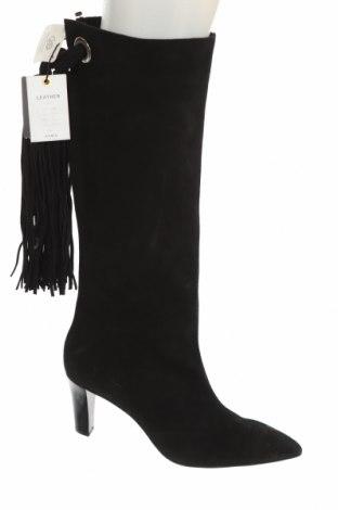 Дамски ботуши Zara, Размер 41, Цвят Черен, Естествен велур, Цена 141,75лв.