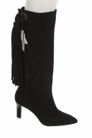 Дамски ботуши Zara, Размер 39, Цвят Черен, Естествен велур, Цена 126,75лв.