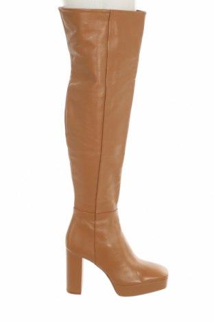 Дамски ботуши Zara, Размер 39, Цвят Кафяв, Естествена кожа, Цена 141,75лв.