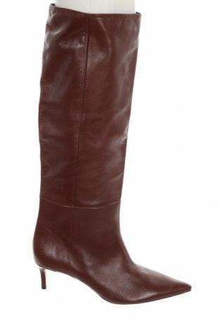 Дамски ботуши Zara, Размер 41, Цвят Червен, Естествена кожа, Цена 126,75лв.